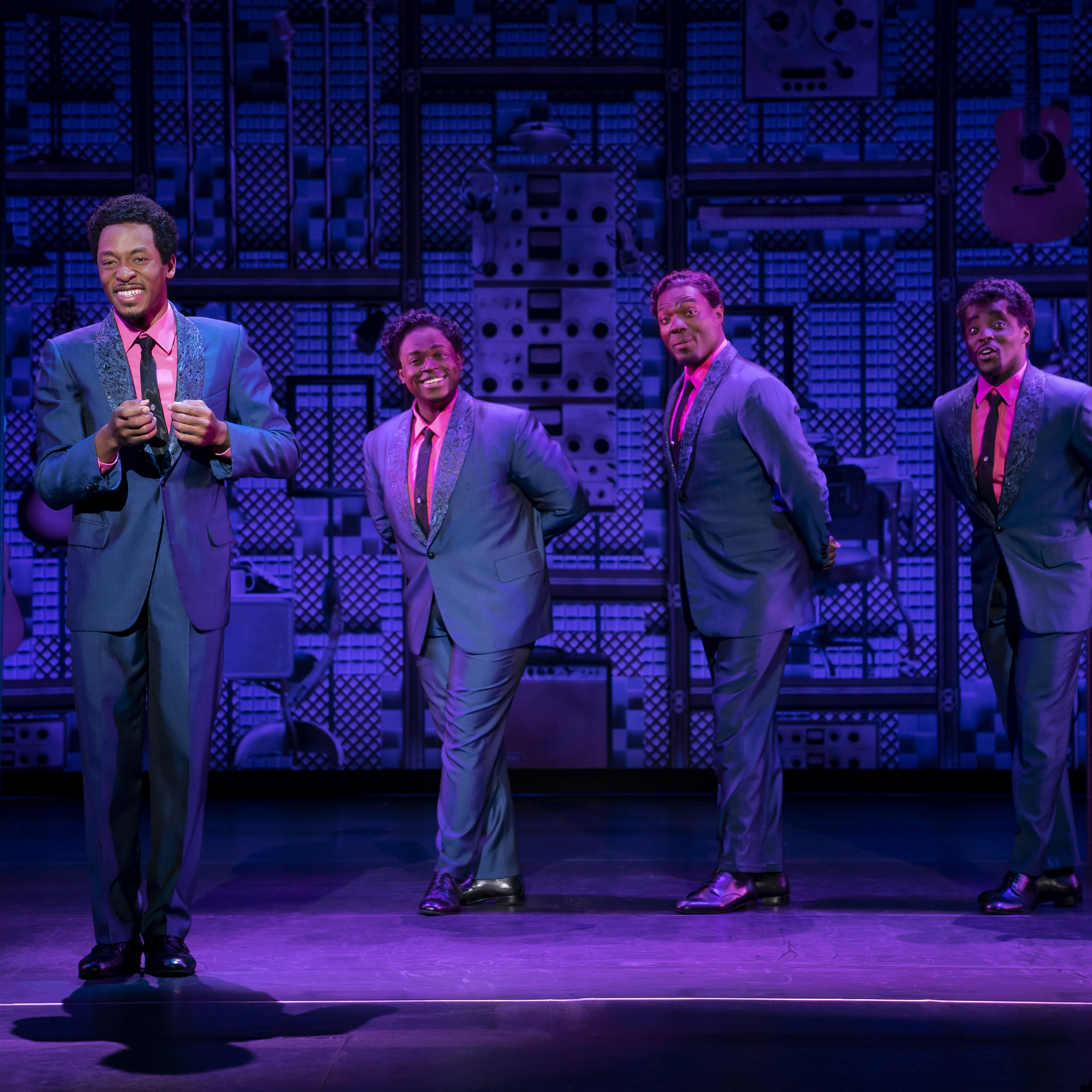 Photos by Joan Marcus. The Drifters. (l to r) Torrey Linder, Edwin Bates, Isaiah Bailey and Ben Toomer