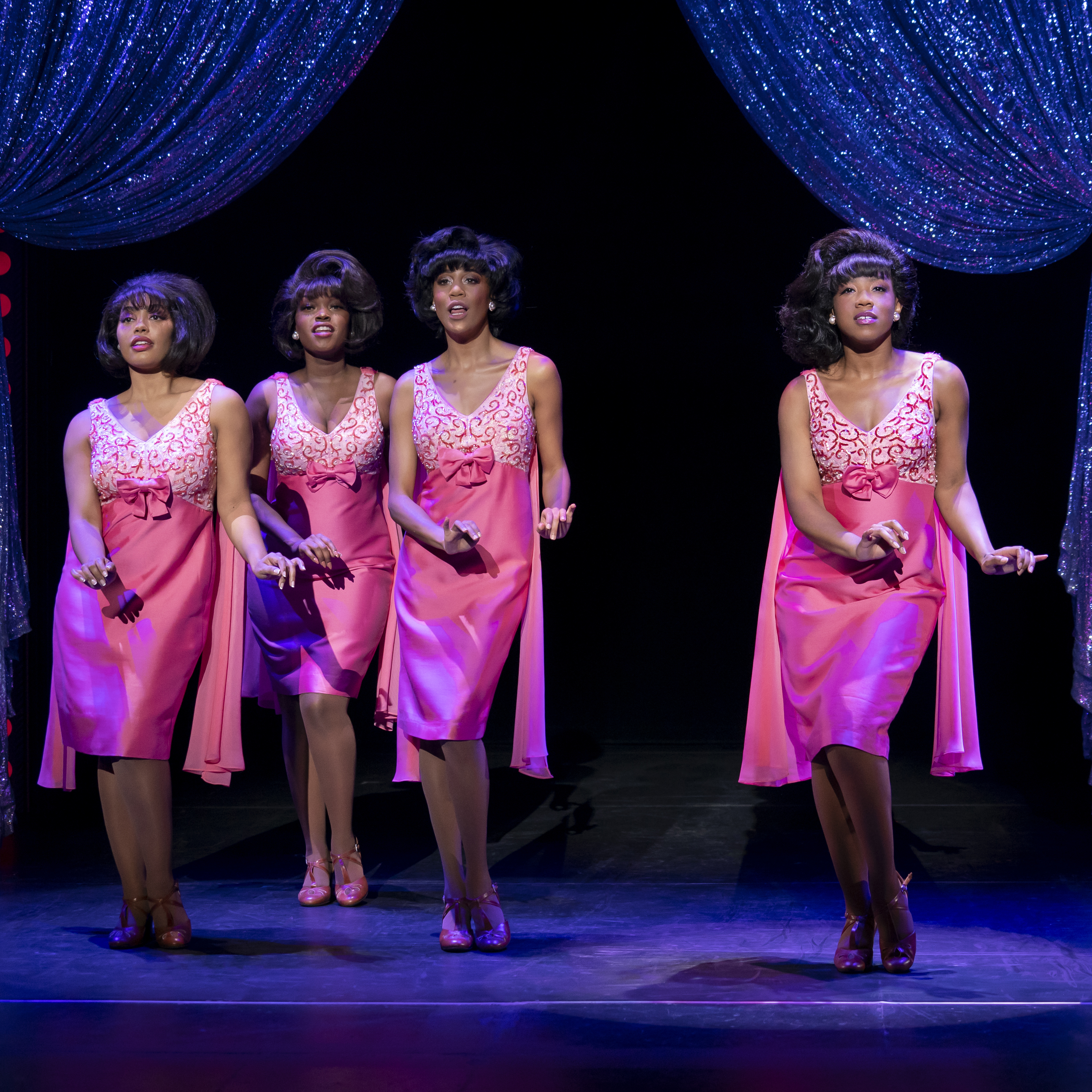 Photos by Joan Marcus. The Shirelles. (l to r) Nazarria Workman, Nya, Hailee Kaleem Wright and Antoinette Comer