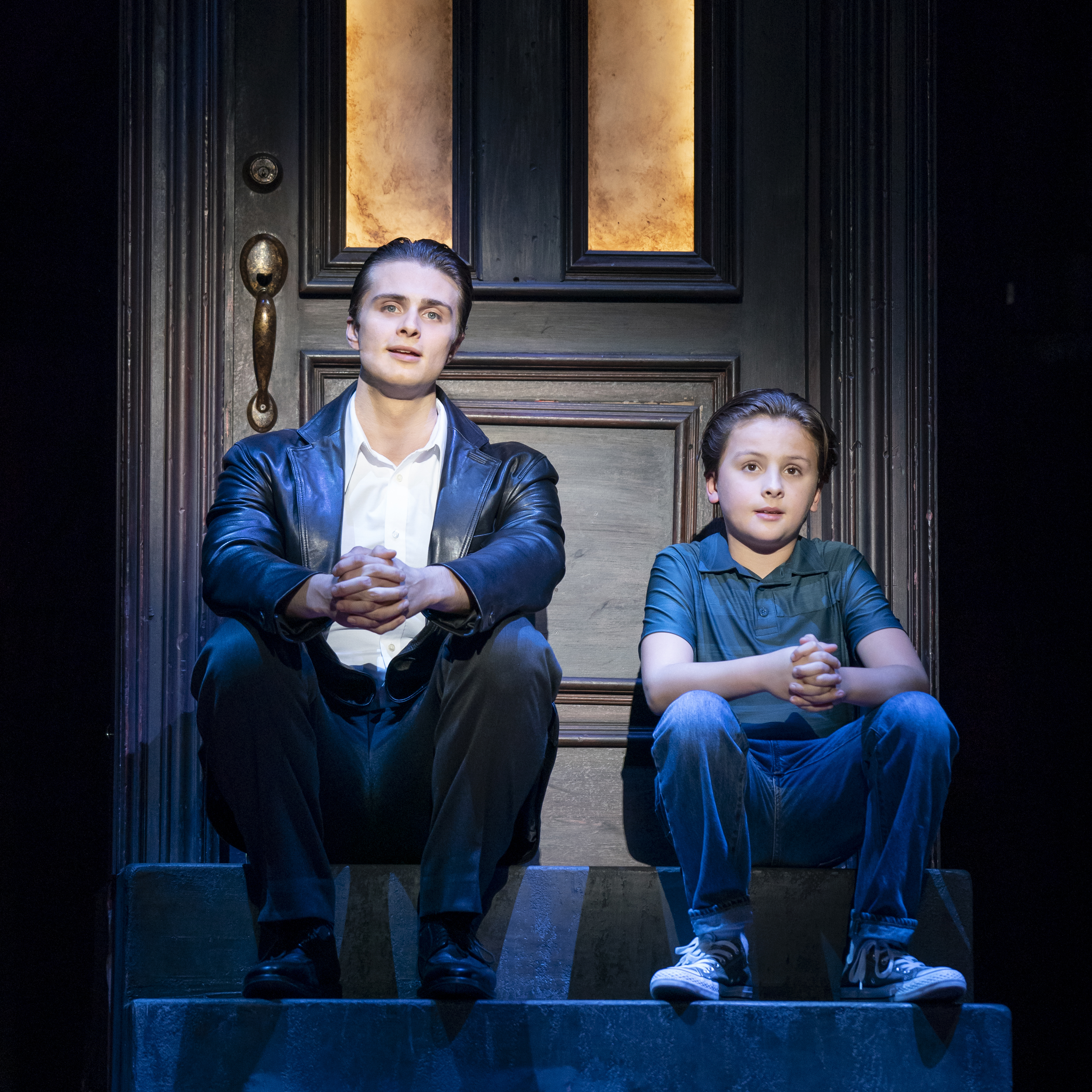 Alec Nevin as Calogero and Trey Murphy as Young C in A BRONX TALE. Photo by Joan Marcus
