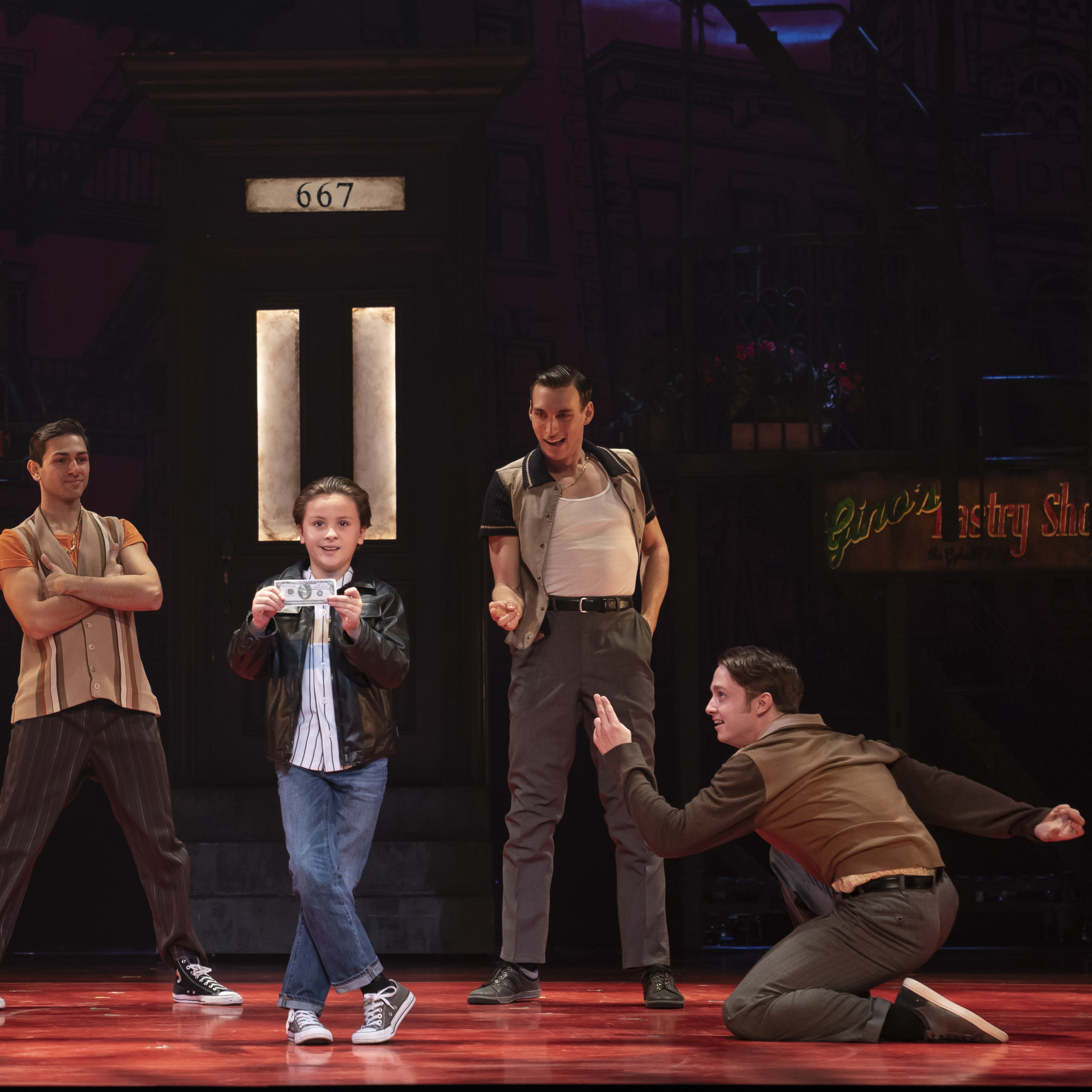 Trey Murphy as Young C and the Cast of A BRONX TALE. Photo by Joan Marcus